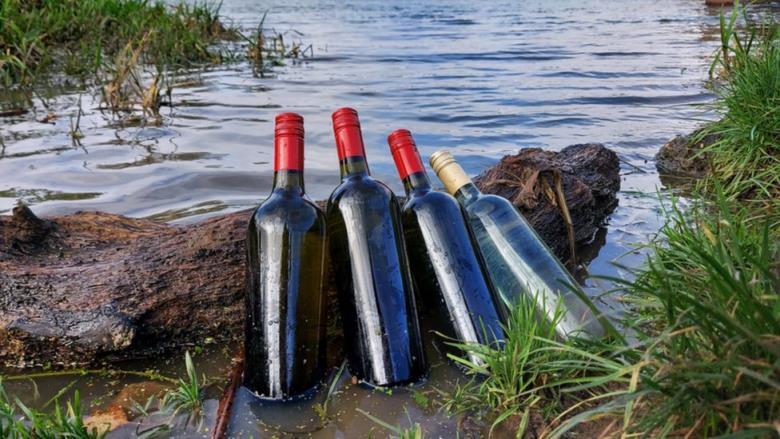 wine bottles in water