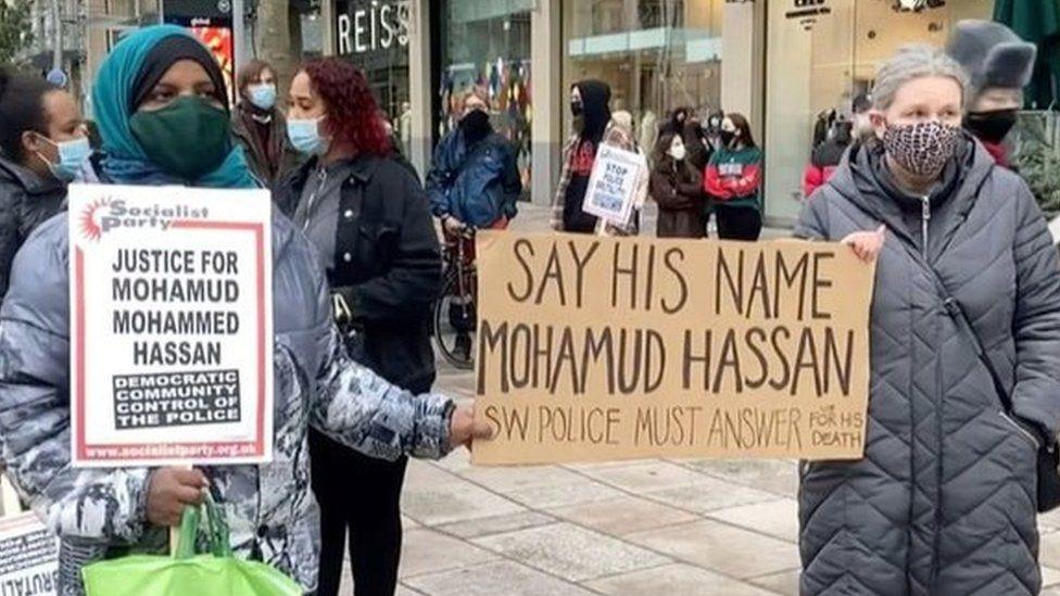 Protesters in Cardiff city centre