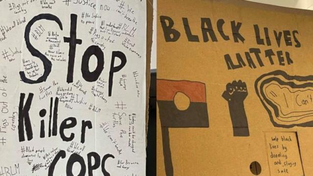 愤怒的警察部长抨击小学张贴的《黑人的命也重要》海报